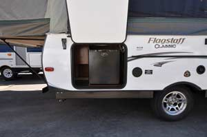 2014 Flagstaff 627D exterior fridge compartment