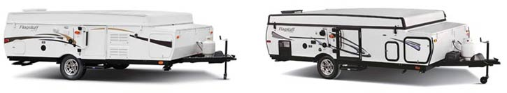 example of early model and regular model Flagstaff pop-up campers