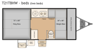 Flagstaff T21TBHW bed layout with two beds