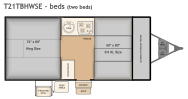 Flagstaff T21TBHWSE bed layout with two beds