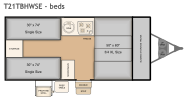 Flagstaff T21TBHWSE bed layout with three beds