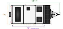 Length and width dimensions for Flagstaff T12RBST