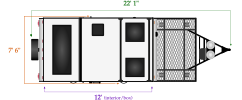 Length and width dimensions for Flagstaff T12RBTH