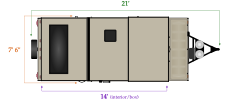 Length and width dimensions for Flagstaff T21FKHW