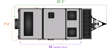 Flagstaff T21TBHWSE travel length and width diagram