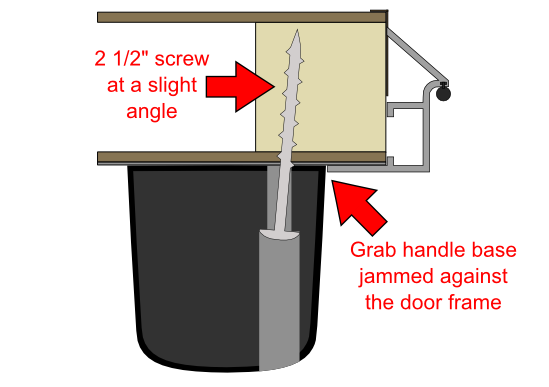 Grab handle cross-section for two-piece doors